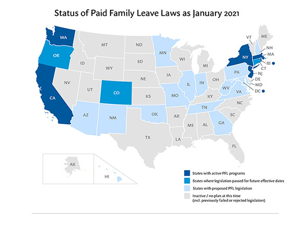 Map of state paid family leave laws across the nation