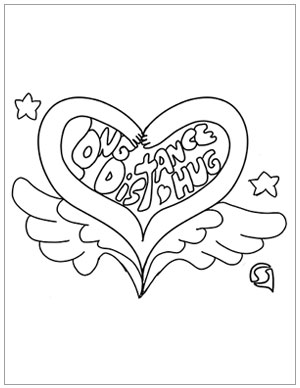 Coloring page to send a long distance hug.