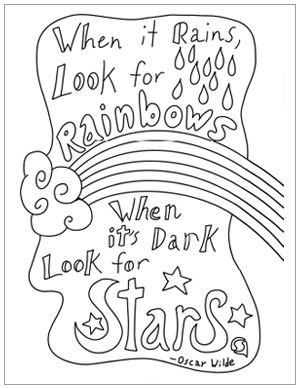 "Inspirational coloring page for encouragement featuring Oscar Wilde's quote ""When it rains look for rainbows, when it's dark look for stars."""