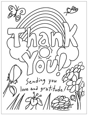"Coloring page to send someone a ""Thank you""."
